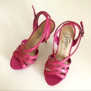 Hot Pink Leather Strappy Heels with Cork Platform